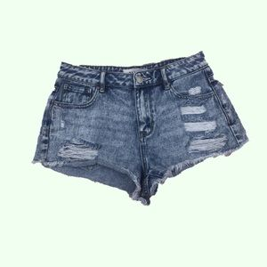 Pacsun High Rise Festival Shorty Distressed  Holes